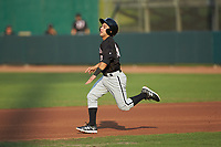 Nick Madrigal (10) of the Kannapolis Intimidators hustles towards second base during the game against the Hickory Crawdads at L.P. Frans Stadium on July 20, 2018 in Hickory, North Carolina. The Crawdads defeated the Intimidators 4-1. (Brian Westerholt/Four Seam Images)