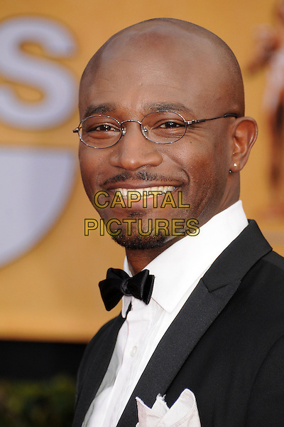 Taye Diggs.Arrivals at the 19th Annual Screen Actors Guild Awards at the Shrine Auditorium in Los Angeles, California, USA..27th January 2013.SAG SAGs headshot portrait black white bow tie shirt tuxedo glasses goatee facial hair .CAP/ADM/BP.©Byron Purvis/AdMedia/Capital Pictures