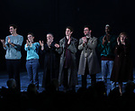 Lee Pace, Denise Gough, Nathan Lane, Andrew Garfield, James McArdle, Nathan Stewart-Jarrett and Susan Brown during the 'Angels in America' Broadway Opening Night Curtain Call Bows at the Neil Simon Theatre on March 25, 2018 in New York City.