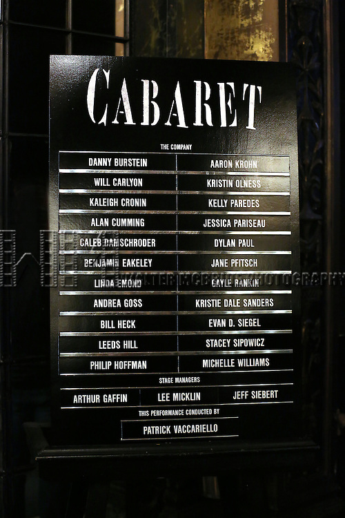 Lobby cast board at the Broadway Opening Night Performance for  'Cabaret' at Studio 54 on April 24, 2014 in New York City.