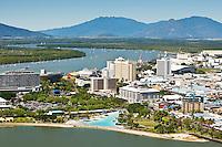 Aerial view of Esplanade lagoon and city centre.  Cairns, Queensland, Australia.