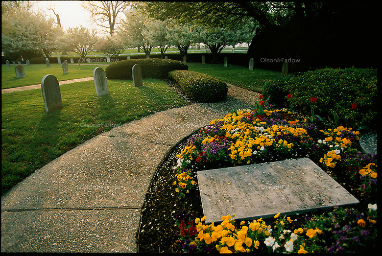 Flowers and stones mark the graves of champion thoroughbred race horses that belonged to Calumet Farm.