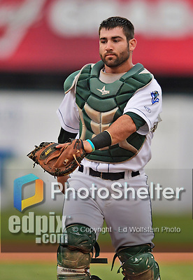 18 July 2013: Vermont Lake Monsters catcher Josh Miller in action against the Aberdeen Ironbirds at Centennial Field in Burlington, Vermont. The Lake Monsters rallied with three runs in the bottom of the seventh to defeat the Ironbirds 6-4 in NY Penn League action. Mandatory Credit: Ed Wolfstein Photo