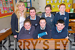 Now is your chance to own a piece of history with the sale of old school desks from Gneeveguilla National School many of which have been there since 1951. .Front L-R Kelly Ann Murphy, Shona Gleeson and Daniel Fleming. .Back L-R Principal Geraldine Shanahan, Michelle O'Sullivan, Amy Flynn and Brian Brosnan.