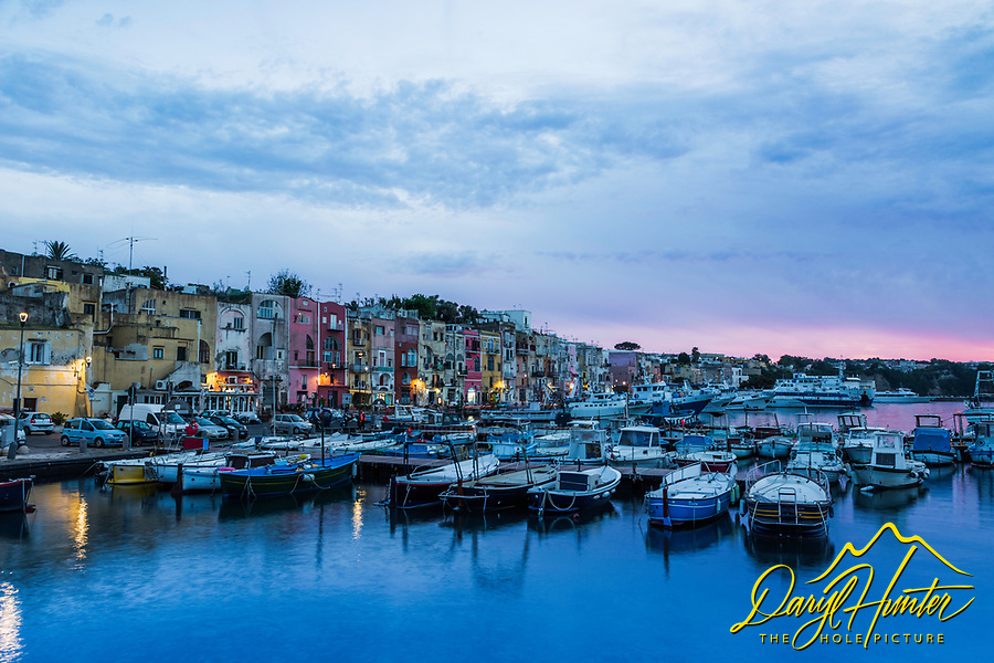 Sunset at Marina Grand on the island of Procida.