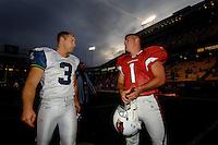 Nov. 6, 2005; Tempe, AZ, USA; Kicker (1) Neil Rackers of the Arizona Cardinals talks with kicker (3) Josh Brown of the Seattle Seahawks at Sun Devil Stadium. Mandatory Credit: Mark J. Rebilas