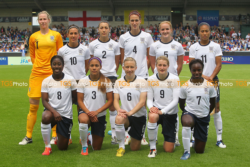 England players line up ahead of kick-off - England Women vs Japan Women - Friendly Football International at the Pirelli Stadium, Burton Albion FC - 26/06/13 - MANDATORY CREDIT: Gavin Ellis/TGSPHOTO - Self billing applies where appropriate - 0845 094 6026 - contact@tgsphoto.co.uk - NO UNPAID USE