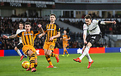9th February 2019, Pride Park, Derby, England; EFL Championship football, Derby Country versus Hull City; Scott Malone of Derby County sees his shot deflected by Liam Ridgewell of Hull City