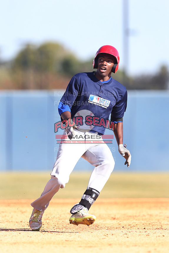 Marcus Wilson of Junipero Serra High School in Gardena, California during the MLBS Southern California Invitational Workout at the Urban Youth Academy on February 14, 2014 in Compton, California. (Larry Goren/Four Seam Images)