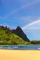 A double rainbow over Makana Mountain (or Mt. Makana, also called Bali Hai), northern Kaua'i.