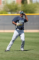 Carlos Pequero of the Seattle Mariners plays in a minor league spring training game against the Kansas City Royals at the Royals minor league complex on March 26, 2011  in Surprise, Arizona. .Photo by:  Bill Mitchell/Four Seam Images.