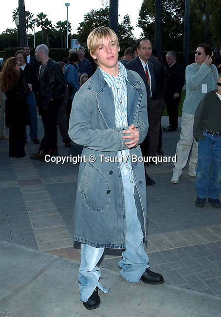 Aaron Carter posing  at the Jimmy Neutron: Boy Genius premiere on the Paramount lot in Los Angeles. December 9, 2001. CarterAaron02.JPG