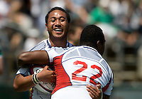 31 May 2009: Roland Suniula of USA celebrates with Alipate Tuilevuka of USA after Suniula scored a touchdown during the second half of the Rugby game against Ireland at Buck Shaw Stadium in Santa Clara, California.   Ireland defeated USA, 27-10.