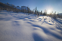 Winter landscape of mt Snowden of the Brooks Range mountains, Arctic, Alaska