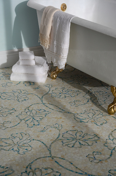 Folia, a handmade mosaic shown in Quartz and Aquamarine Sea Glass™, is part of the Sea Glass™ collection by New Ravenna.
