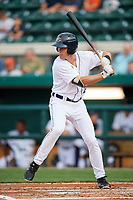 Lakeland Flying Tigers designated hitter Chad Sedio (20) at bat during a game against the Tampa Tarpons on April 5, 2018 at Publix Field at Joker Marchant Stadium in Lakeland, Florida.  Tampa defeated Lakeland 4-2.  (Mike Janes/Four Seam Images)