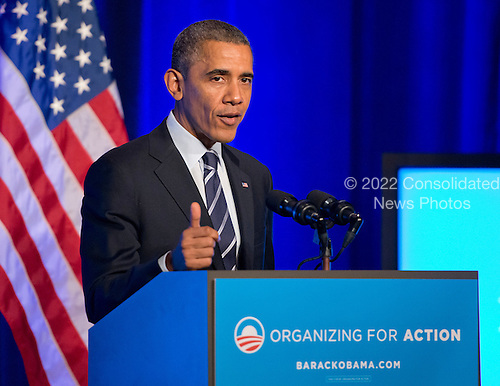 United States President Barack Obama delivers remarks at an Organizing for Action &quot;Obamacare Summit&quot; at the St. Regis Hotel in Washington, D.C. on Monday, November 4, 2013.  <br /> Credit: Ron Sachs / Pool via CNP