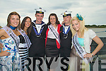 "..SAILORS: l-r: Two of the crew members Kieran Enright and Keith Mallon of The Naval Ship ""Aoife"" who pose for a photo with roses Hannah Oguz (Leicester Rose), Anna Mullins (Birmingham Rose),Cathrina McGuinness(Derby Rose) and Nicole Moriarty (Yorkshire Rose).. ...."