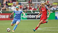 Portland, OR - Saturday April 29, 2017: Julie Johnston Ertz, Allie Long during a regular season National Women's Soccer League (NWSL) match between the Portland Thorns FC and the Chicago Red Stars at Providence Park.