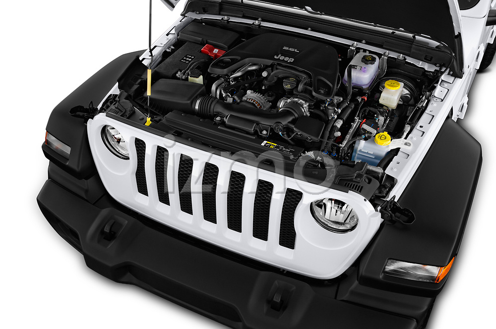 Car stock 2018 Jeep Wrangler Unlimited Sport S 5 Door SUV engine high angle detail view