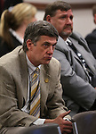 Nevada state prison officials Greg Cox, left, and E.K. McDaniel listen to testimony in a committee hearing at the Legislative Building in Carson City, Nev., on Tuesday, March 5, 2013..Photo by Cathleen Allison