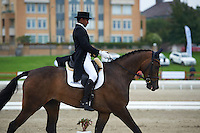 Theodor Wahren (SWE) riding EX2000 during the dressage test at Malmo City Horse Show FEI World Cup Eventing Qualifier CIC***. <br /> The couple was with 67,78 % placed 10th after Friday's dressage.<br /> Eventing in Ribersborg, Malmo, Sweden. Ribersborg is very close to Malmo city seen in the background.<br /> August 2011.<br /> Only for editorial use.