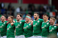 The Ireland team sing their national anthem prior to the match. World Rugby U20 Championship Final between England U20 and Ireland U20 on June 25, 2016 at the AJ Bell Stadium in Manchester, England. Photo by: Patrick Khachfe / Onside Images