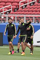 Action photo during Training Selection of Mexico before its match against Chile Corresponds to the quarterfinals of the America Cup Centenary 2016 at Levis Stadium,<br /> <br /> Foto de accion durante el Entrenamiento de la Seleccion de Mexico previo a su partido contra Chile Correspondiente a los Cuartos de Final de la Copa America Centenario 2016, en el Estadio Levis, en la foto: Oribe Peralta, Rafael Marquez y Carlos Pena<br /> <br /> <br /> 17/06/2016/MEXSPORT/Omar Martinez.