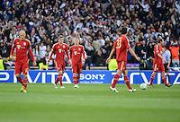 FUSSBALL   CHAMPIONS LEAGUE SAISON 2011/2012  HALBFINALE  RUECKSPIEL      Real Madrid - FC Bayern Muenchen           25.04.2012 Arjen Robben, Toni Kroos, Bastian Schweinsteiger, Mario Gomez und Holger Badstuber (v.l, alle Bayern) sind enttaeuscht
