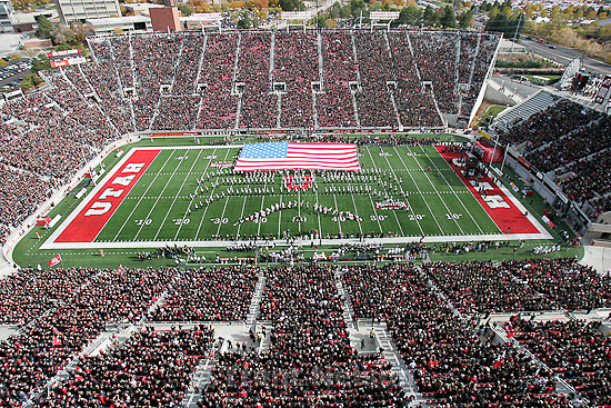 Trent Nelson  |  The Salt Lake Tribune.utah marching band, Utah vs. TCU college football, Saturday, November 6, 2010. TCU won 47-7. american flag