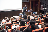 Wanlass Distinguished Visiting Artist Willie Cole lecture, October 20, 2016 in Choi Auditorium. Willie Cole's work has been the subject of several one-person museum exhibitions: Montclair Art Museum (2006), University of Wyoming Art Museum (2006), the Tampa Museum of Art (2004), Miami Art Museum (2001), Bronx Museum of the Arts (2001) and the Museum of Modern Art, New York (1998). The Distinguished Visiting Artist residency is generously funded by the Kathryn Caine Wanlass Charitable Foundation<br /> (Photo by Marc Campos, Occidental College Photographer)