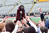 Towson, MD - May 6, 2017: Towson Tigers players hold up the Championship trophy after the CAA Championship game between Towson and UMASS at Minnegan Field at Johnny Unitas Stadium  in Towson, MD. (Photo by Phillip Peters/Media Images International)