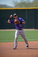 Colorado Rockies shortstop Peter Lambert (10) during a Minor League Spring Training game against the Milwaukee Brewers at Salt River Fields at Talking Stick on March 17, 2018 in Scottsdale, Arizona. (Zachary Lucy/Four Seam Images)