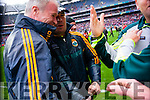 Eamon Fitzmaurice, Kerry Manager, Diarmuid Murphy after defeating Tyrone in the All Ireland Semi Final at Croke Park on Sunday.
