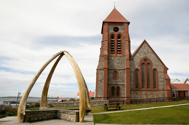 The Whalebone Arch in front of Christ Church Cathedral, Stanley. The Falkland Islands