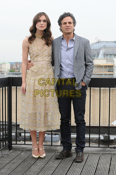 LONDON, ENGLAND - JULY 2: Keira Knightley and Mark Ruffalo attend Begin Again photocall at the Picturehouse Cinemas Head Office on July 2, 2014 in London, England<br /> CAP/BEL<br /> &copy;Tom Belcher/Capital Pictures