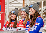 5 December 2015: Emily Sweeney (left), Erin Hamlin (center), and Summer Britcher (right) of the United States of America, smile for the media after winning the top three places of the Viessmann World Cup Women's Luge at the Olympic Sports Track in Lake Placid, New York, USA. Erin Hamlin won the competition with a track record on her first run, and a combined time of 1:27.961 for her 2-run day. Mandatory Credit: Ed Wolfstein Photo *** RAW (NEF) Image File Available ***