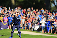 Rory McIlroy (NIR) Team Europe celebrates on the 16th during the Friday afternoon fourball at the Ryder Cup, Hazeltine national Golf Club, Chaska, Minnesota, USA.  30/09/2016<br /> Picture: Golffile | Fran Caffrey<br /> <br /> <br /> All photo usage must carry mandatory copyright credit (&copy; Golffile | Fran Caffrey)