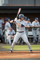 Chance Bowden (15) of the Catawba Indians at bat against the Belmont Abbey Crusaders at Abbey Yard on February 7, 2017 in Belmont, North Carolina.  The Crusaders defeated the Indians 12-9.  (Brian Westerholt/Four Seam Images)