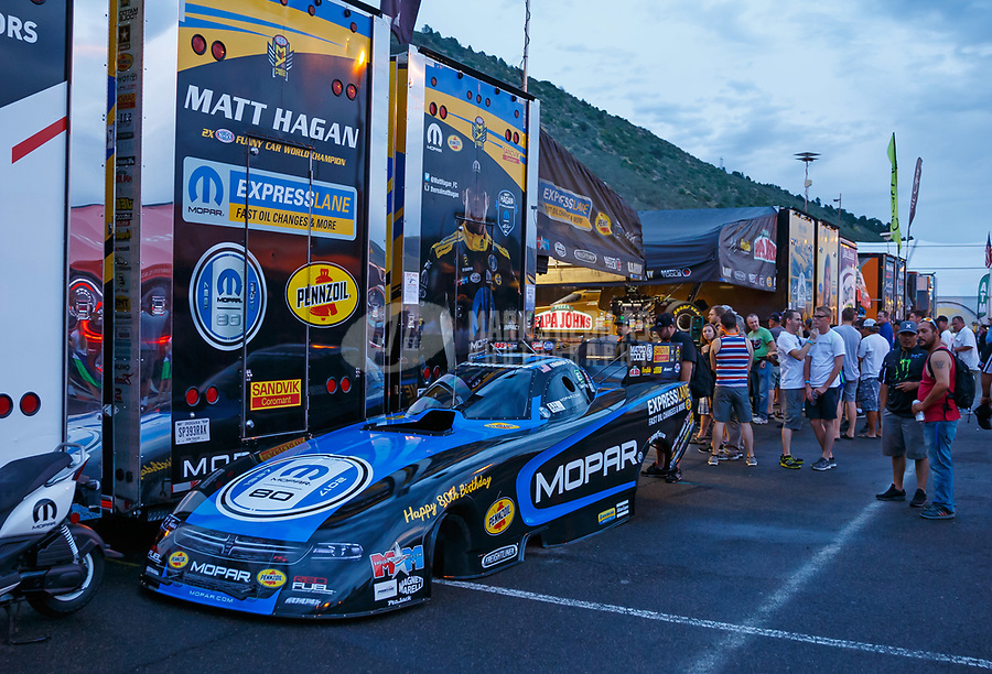 Jul 21, 2017; Morrison, CO, USA; Pit area for NHRA funny car driver Matt Hagan during qualifying for the Mile High Nationals at Bandimere Speedway. Mandatory Credit: Mark J. Rebilas-USA TODAY Sports