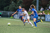 Allston, MA - Wednesday Sept. 07, 2016: Kyah Simon, Jaelene Hinkle, Julie King during a regular season National Women's Soccer League (NWSL) match between the Boston Breakers and the Western New York Flash at Jordan Field.