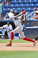 Lakewood BlueClaws Carlos De La Cruz (27) swings at a pitch during a game against the Asheville Tourists at McCormick Field on August 4, 2019 in Asheville, North Carolina. The Tourists defeated the BlueClaws 13-6. (Tony Farlow/Four Seam Images)