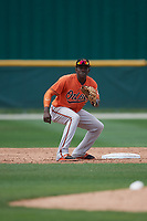 Baltimore Orioles JC Encarnacion (76) waits for a throw during a Minor League Spring Training game against the Tampa Bay Rays on March 16, 2019 at the Buck O'Neil Baseball Complex in Sarasota, Florida.  (Mike Janes/Four Seam Images)