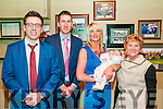 Baby Aodhan Quinn with his parents James Quinn & Sinead Cahill, Listowel  and god parents Patrick Quinn & Anne Cahill who was christened in Moyvane Church by Fr. McNamara on Saturday last and afterwards at The Kingdom Bar, Listowel.