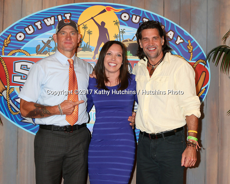"""LOS ANGELES - MAY 24:  Brad Culpepper, Sarah Lacina, Troyzan Robertson at the """"Survivor: Game Changers - Mamanuca Islands"""" Finale at the CBS Studio Center on May 24, 2017 in Studio City, CA"""