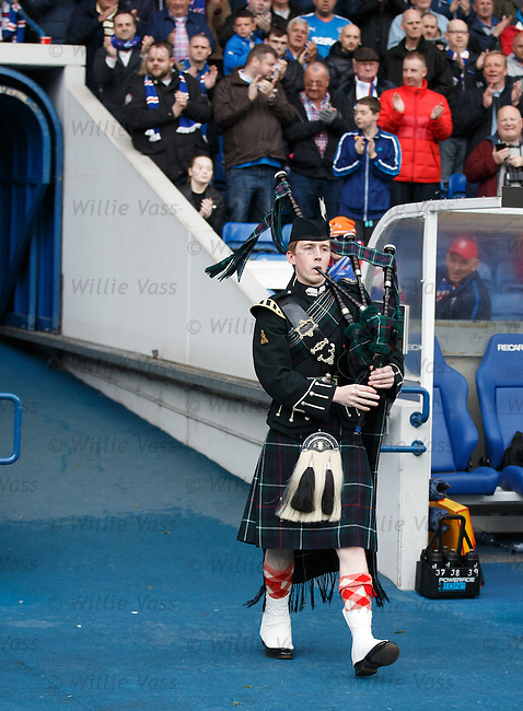 Piper leads out armed forces personnel at half-time