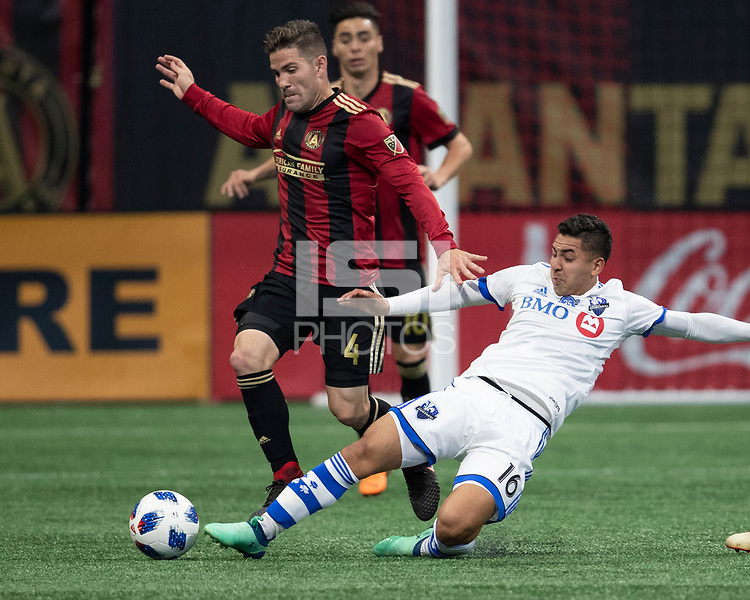 Atlanta Georgia - April 28, 2018: Mercedes-Benz Stadium, Atlanta United vs Montreal Impact. Final score Atlanta 4, Montreal 1.