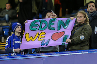 Chelsea fans hold up a sign in support of Eden Hazard of Chelsea during the UEFA Champions League group match between Chelsea and FC Porto at Stamford Bridge, London, England on 9 December 2015. Photo by David Horn / PRiME