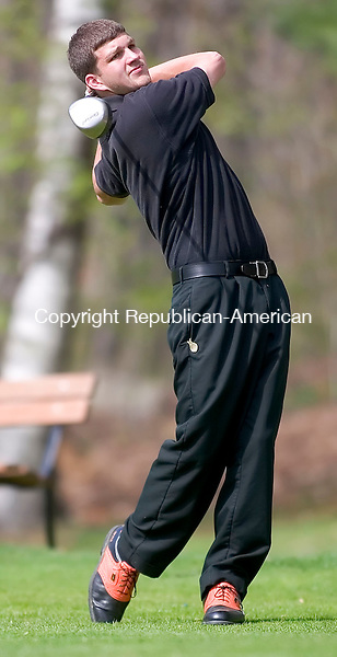 WATERTOWN, CT -04 MAY 2006 -050406JT04--<br /> Watertown's Kevin Davis tees off for the 15th hole during a round with Naugatuck and Shepaug at Crestbrook Golf Course on Thursday.<br /> Josalee Thrift Republican-American