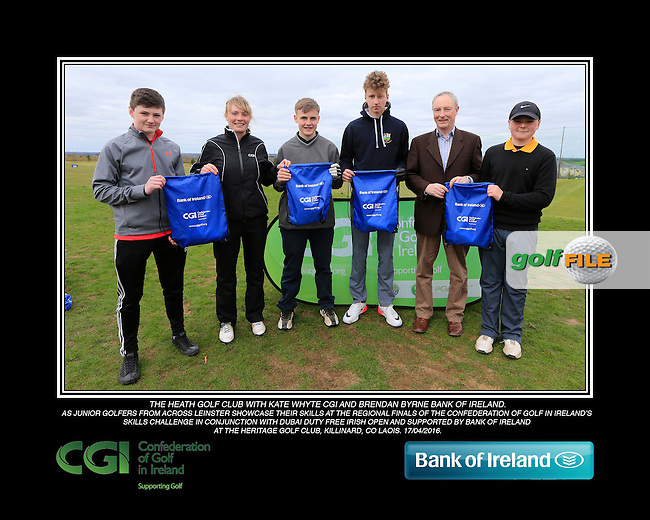 The Heath Golf Club boys With Kate Wright CGI and Brendan Byrne Bank of Ireland.<br /> Junior golfers from across Leinster practicing their skills at the regional finals of the Dubai Duty Free Irish Open Skills Challenge supported by Bank of Ireland at the Heritage Golf Club, Killinard, Co Laois. 2/04/2016.<br /> Picture: Golffile | Fran Caffrey<br /> <br /> <br /> All photo usage must carry mandatory copyright credit (&copy; Golffile | Fran Caffrey)